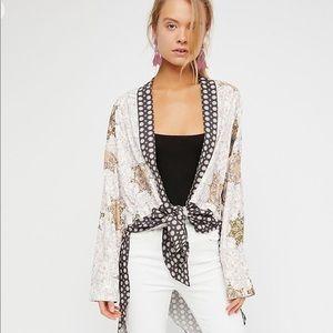 Free People Forget Me Not Mixed-Print Kimono
